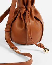 Ted Baker Slouchy Drawstring Bucket Bag - Braun
