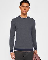 Ted Baker - Men's Pershan Striped Rib Detail Cotton Jumper - Lyst