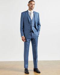 Ted Baker Pantalón De Lana Colección Debonair - Azul