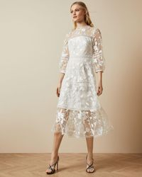 Ted Baker Lace Floral Midi Dress - White