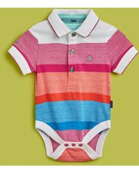 Ted Baker - Striped Cotton Polo Bodysuit - Lyst