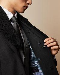 Ted Baker Detachable Collar Overcoat - Black