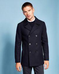 142a661564f1b1 Ted Baker Herringbone Bouclé Wool-blend Coat in Red for Men - Lyst