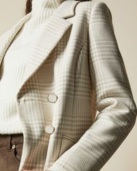 Ted Baker Double Breasted Checked Coat - Natural