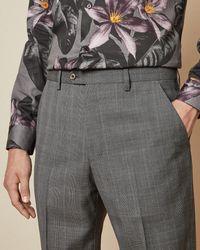 Ted Baker Debonair Subtle Check Wool Pants - Gray