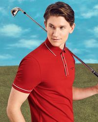 Ted Baker - Striped Trim Polo Shirt - Lyst