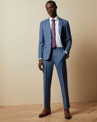 Ted Baker Debonair Sharkskin Wool Pants - Blue
