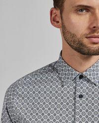 Ted Baker Geo Print Cotton Shirt - Blue