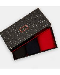 Ted Baker Three Pack Cotton Sock Set - Red