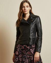 Ted Baker Leather Biker Jacket - Black