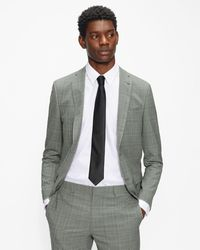 Ted Baker Slim Fit Checked Suit Jacket - Grey