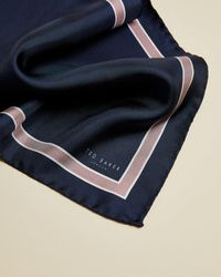 Ted Baker Plain Silk Pocket Square - Blue