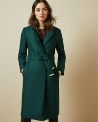 Ted Baker Buttoned Wrap Coat - Green