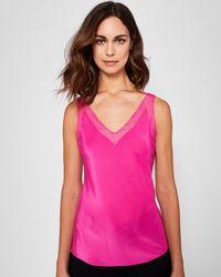 d5809c145203c Ted Baker Embellished Shoulder Top in Pink - Lyst