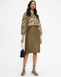 Ted Baker Button Front Leather Pencil Skirt - Green