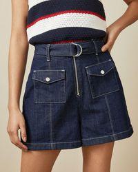 Ted Baker Cotton Patch Pocket Denim Shorts - Blue