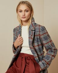 Ted Baker Long Checked Belted Coat - Blue