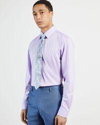 Ted Baker Camisa Algodón Textura - Morado