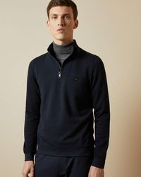 Ted Baker Muggie Half Zip Knitted Sweater - Blue