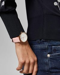 Ted Baker Embossed Dial Leather Strap Watch - Pink