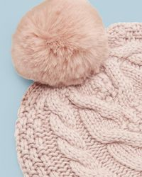 Ted Baker - Cable Knit Wool Pom Hat - Lyst 871f487c2740