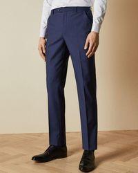 Ted Baker Pantalón De Lana Diseño Semiliso - Azul