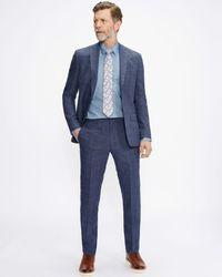 Ted Baker Slim Linen Check Suit Trouser - Blue