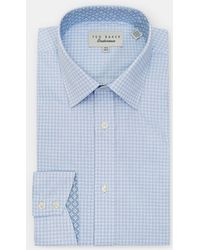 Ted Baker Houndstooth Cotton Shirt - Blue