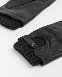 Ted Baker Leather Knitted Gloves - Black