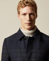 Ted Baker Oversized Check Overcoat - Blue