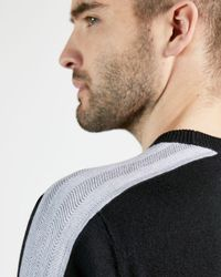 Ted Baker Crew Neck With Overarm Stripe - Black