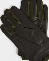 Ted Baker Leather Gloves With Ribbed Cuff - Black
