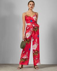 Ted Baker Piiper Wrap Jumpsuit In Berry Sundae - Red