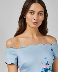 Ted Baker Raspberry Ripple Bardot Floral Off-the-shoulder Short-sleeve Scallop Dress - Blue