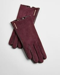 Ted Baker Suede And Leather Gloves - Multicolour