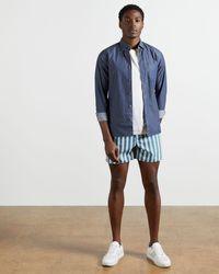 Ted Baker Striped Shorty Swimshort - Blue