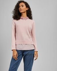 Ted Baker Floral Collar Mockable Jumper - Pink
