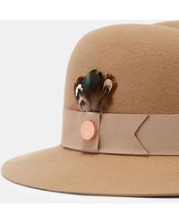 Ted Baker - Feather Trim Fedora - Lyst