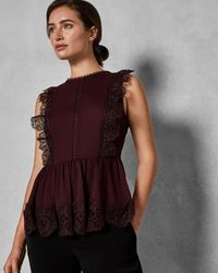 Ted Baker Mixed Lace Peplum Sleeve Top - Multicolour