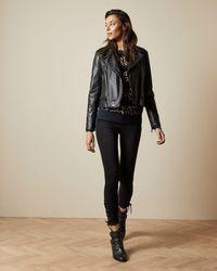 Ted Baker Zip Leather Biker Jacket - Black
