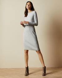 Ted Baker Long Sleeved Ribbed Knitted Midi Dress - Grey