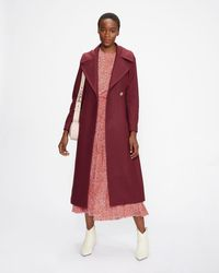 Ted Baker Wool Coat With Oversized Collar - Morado