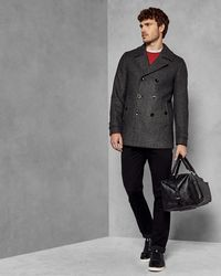 b451f09788c0ac Ted Baker - Double Breasted Wool Pea Coat - Lyst