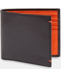 Ted Baker - Contrast Internals Leather Bi-fold Wallet - Lyst