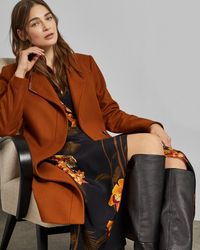 Ted Baker Long Belted Wrap Coat - Brown
