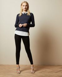 Ted Baker Sparkle Collar Mock Layer Sweater - Blue