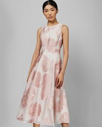 Ted Baker Wylieh Sleeveless Lace Midi Dress - Pink