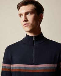 Ted Baker Funnel-neck Striped Knitted Sweatshirt - Blue