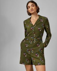 Ted Baker Printed Playsuit - Green