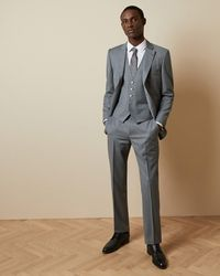 Ted Baker Checked Wool Suit Trousers - Grey